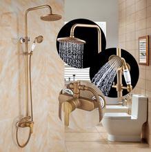 Ensemble de robinets de douche anciens   Salle de bains de luxe en laiton, robinet de douche Antique à une poignée robinet mitigeur de douche pluie exposé