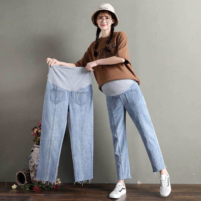 2020 Ass Pocket Design Spring Maternity Jeans for Pregnant Woman Pregnancy Denim Pants Cotton Loose Trousers Maternity Clothing enlarge