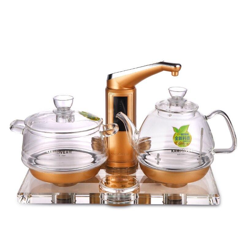 KAMJOVE утолщение стекла электрический чайник варить чай Здоровье интеллект цветное Хрустальное стекло электрический чайный набор для подогр...