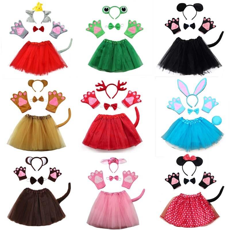 Disfraz de animales de dibujos animados para niñas, conejo, ratón, oso, Lobo, Rana, zorro, cerdo, diadema guantes, vestido de tutú, Cosplay para fiesta de Halloween