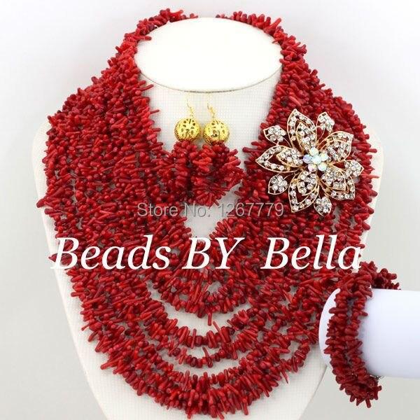 مجوهرات تنكرية أفريقية مصممة حديثًا ، مرجان أحمر حقيقي ، طقم مجوهرات الزفاف ، شحن مجاني ، ABS068