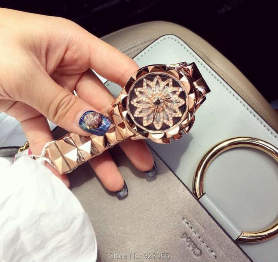 2019 New Women Watch Stainless Steel Watches Lady Shining Rotation Dress Watch Big Diamond Stone Wristwatch Lady Rose Gold Watch enlarge
