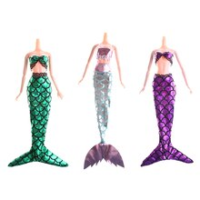 2PCS/set Fashion Clothes Handmade Dolls Mermaid Tail Dress Baby Toy Party Dress Gown Skirt For  Doll