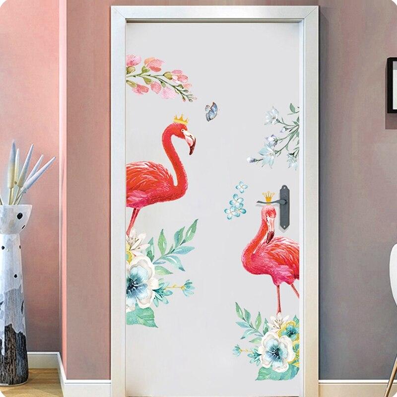 Adhesivos de pared de flamencos de moda papel pintado en la pared decoración del hogar niños Sala dormitorio Decoración Accesorios adhesivo mural
