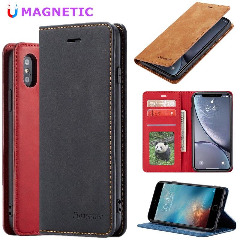 Funda magnética tipo billetera con tapa para iPhone 7 6 8 6S Plus tarjetero de cuero con ranura para iPhone XR X XS Max Book