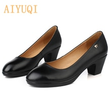 AIYUQI Women Shoes Fashion leather spring/fall Shoes Classic black office lady shoes High heel zapat