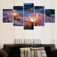 5 pcs large hd light shine night canvas print painting for living room modern wedding decoration wall art picture gift unfrmaed