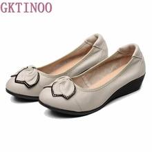 Genuine Leather Women High Heels Handmade Fashion Women shoes high heel Black Slip on Casual Wedges Women Pumps