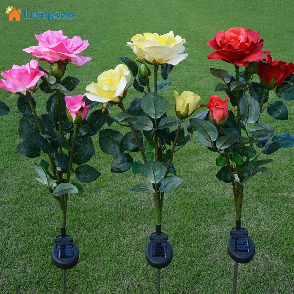 Lumiparty Rose Flower Solar LED Light Garden Yard Lawn Night Lamp Landscape Garden Home Decoration Flowers Lights