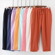 Grande taille 4XL printemps été pantalon droit femmes coton lin pantalon à lacets pantalons de survêtement mince pantalon décontracté femmes vêtements C4369