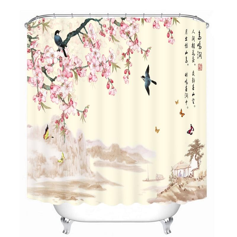 MYRU 3D Print Waterproof Swallow Shower Curtains Bath Products Bathroom Decor with Hooks