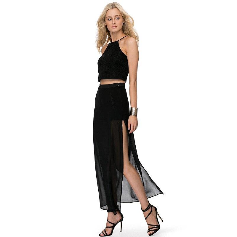 تنورة شيفون حريمي ، مقاس كبير ، نحيف ، مثير ، شق جانبي ، حزام مطاطي ، طول الكاحل ، 20 لونًا ، قابل للتخصيص ، صيفي