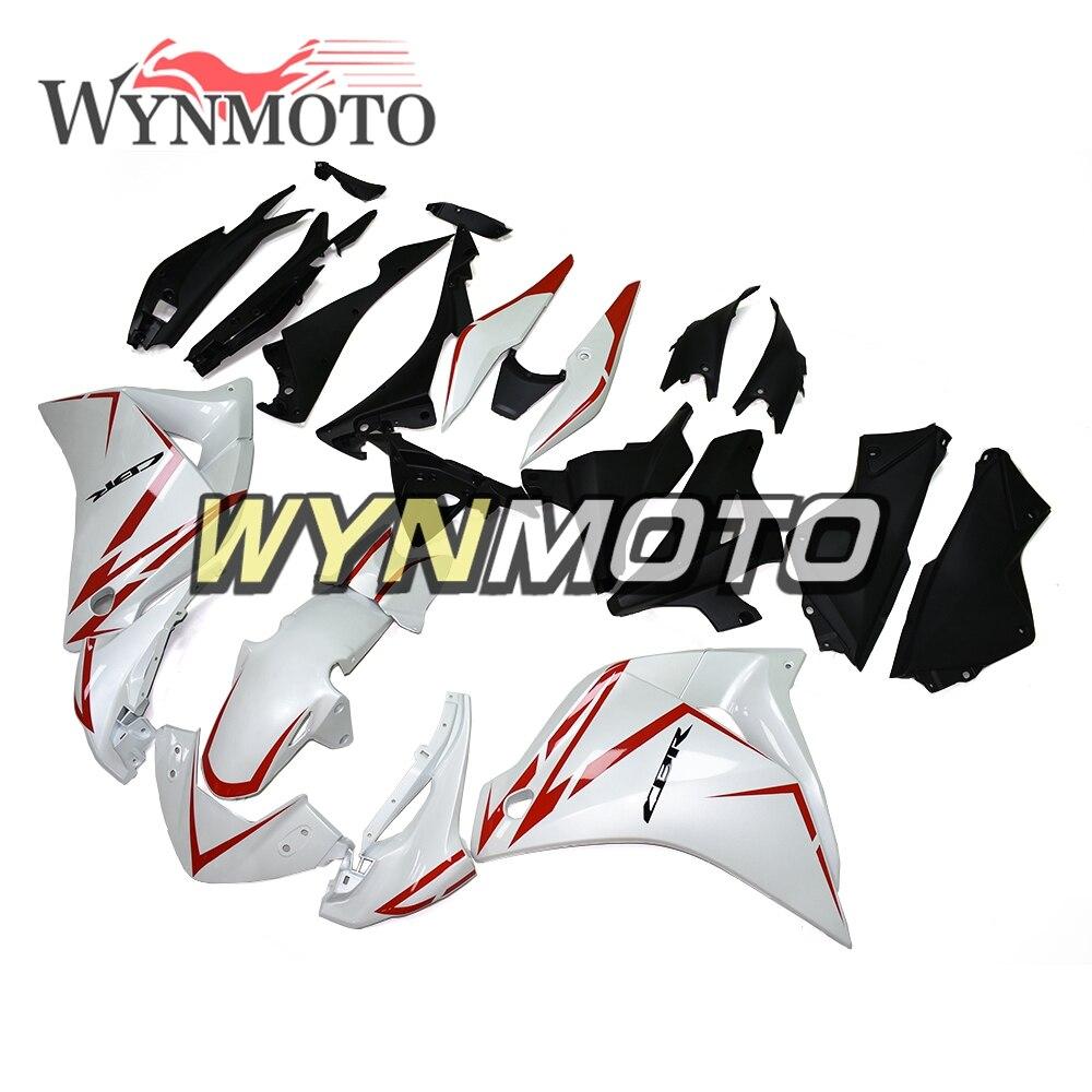 Carenados de plástico de inyección de completamente de ABS para moto Honda CBR250R 2011 2012 2013 2014, carenados de bicicleta deportiva, Kits de cuerpo de tira roja blanca