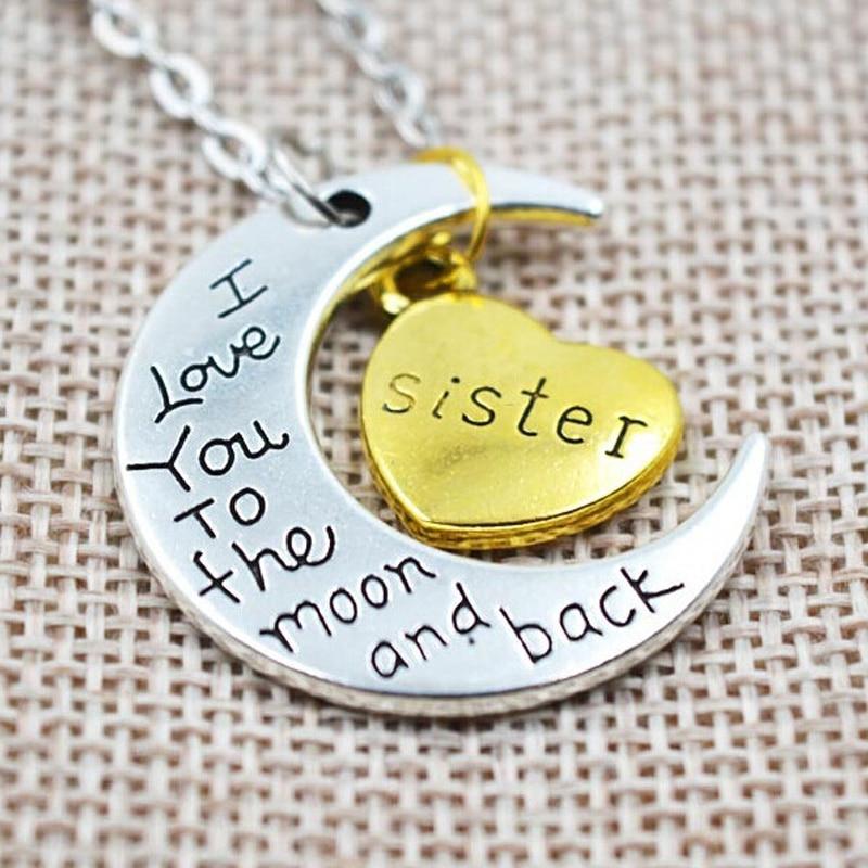 LNRRABC Simple barato y plata I Love You Moon abuelo Luna familia colgante collar mujeres joyería accesorios regalo envío gratis