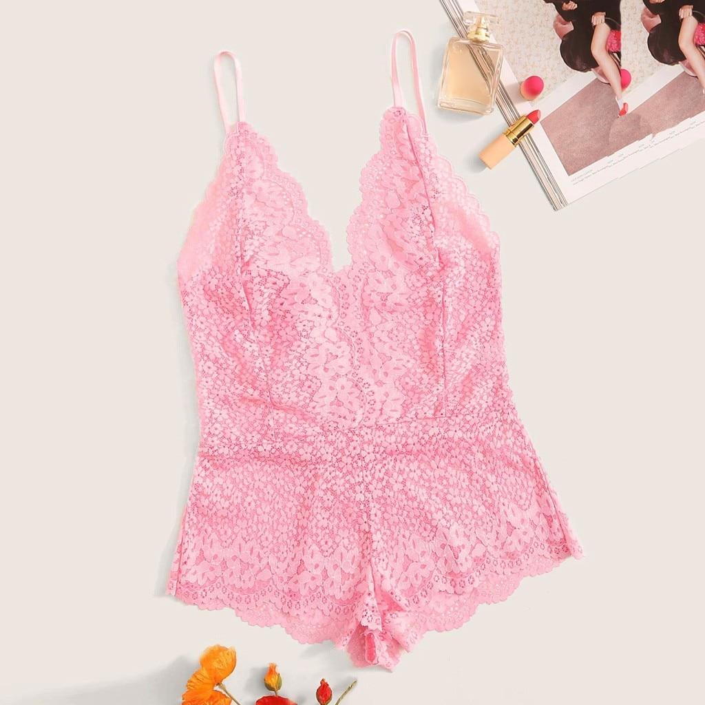 Pink Eyelash Lace Teddy Bodysuit Women Romper 2019 Sweet Cute Female Elegant Bodysuit Homewear Sexy Bodysuits