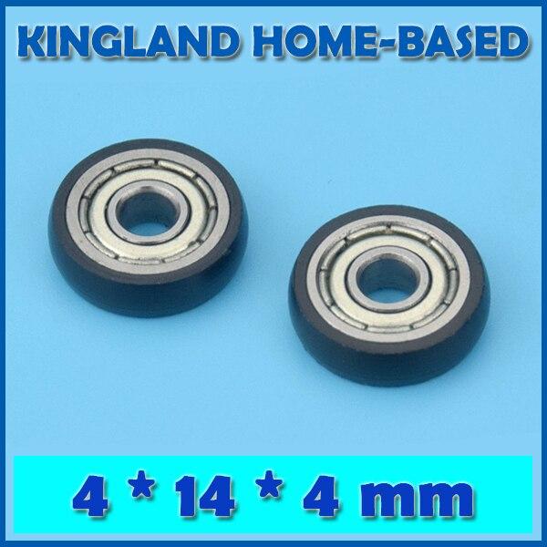 Черные резиновые раздвижные подшипники для шкафа, 10 шт., 4*14*4 мм, роликовые подшипники для дверей, внутренний диаметр подшипника 4 мм, коррози...