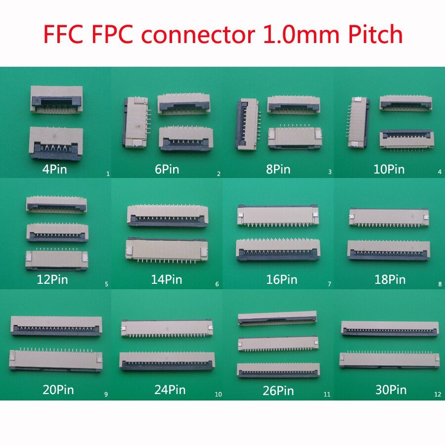 10 stücke FFC FPC stecker 1,0mm 4/6/8/10/12/14//16 /18/20/24/26/30 Pin Flip Typ Band Flache Connector Bottom Kontaktieren
