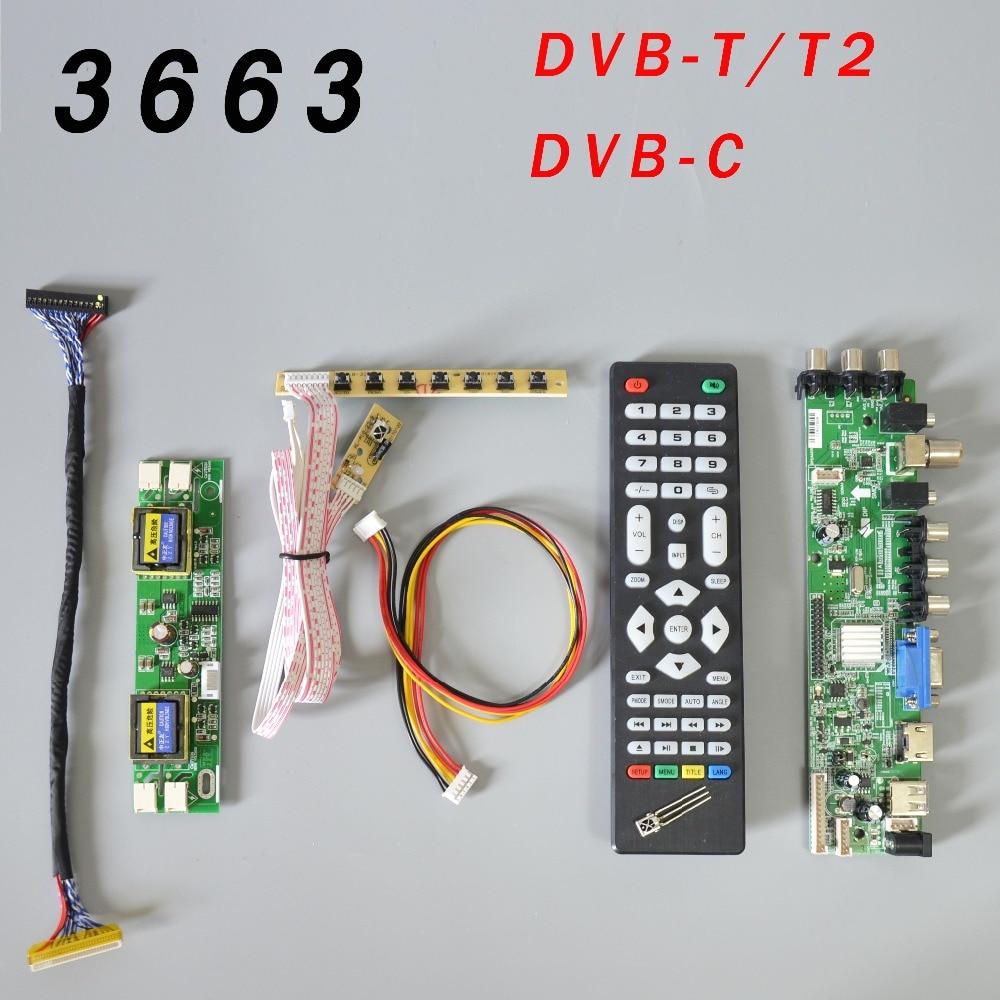 Универсальная плата для ЖК-драйверов DS. D3663LUA.A81.2.PA V56 V59, поддержка ТВ-панели с 7 клавишами, ИК, 4 инвертора и LVDS 3663