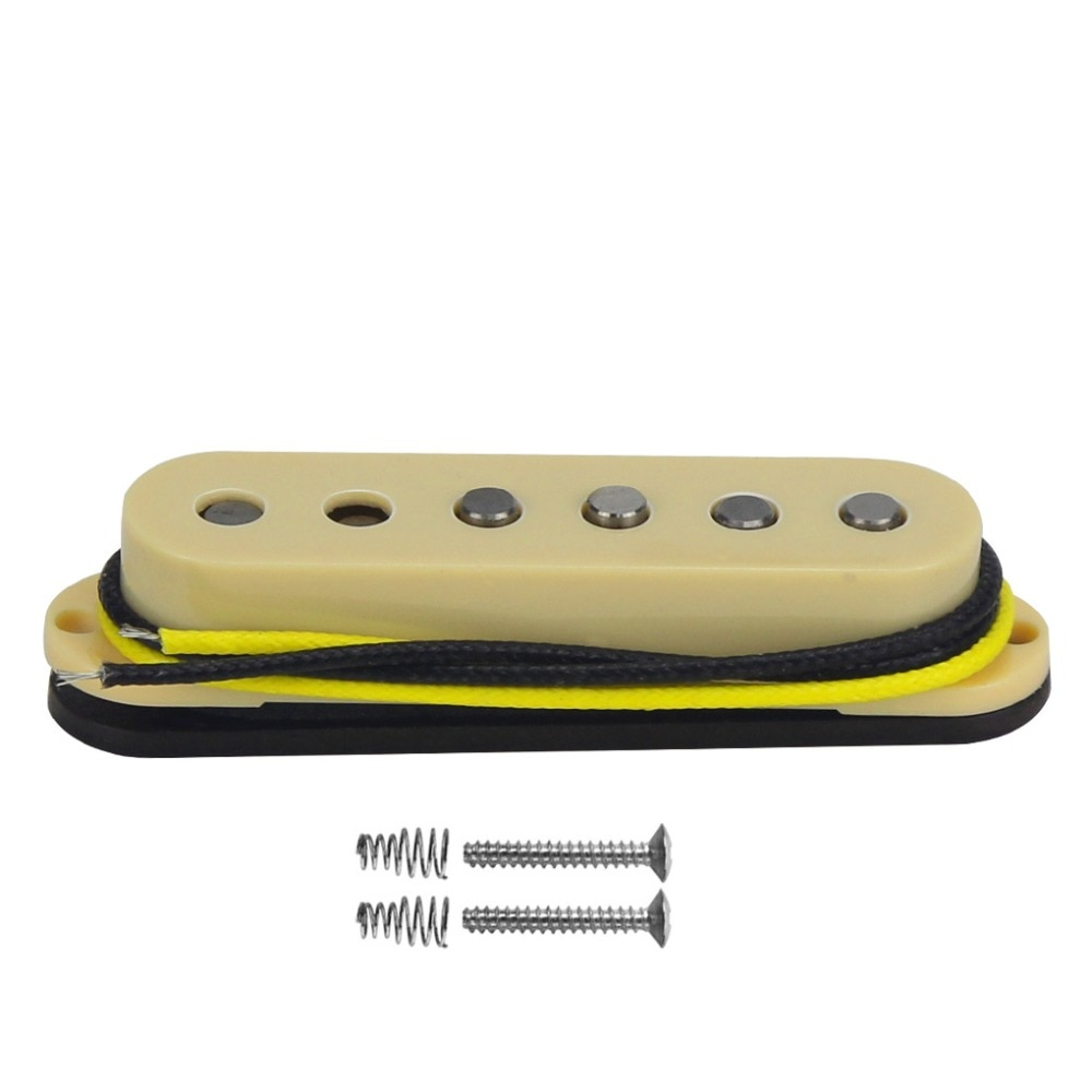FLEOR escalonado Pole Vintage Single Coil guitarra Pickup Bridge Alnico 5 pastilla de guitarra eléctrica fibra bobina de alambre de tela, amarillo
