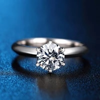 solid 18k white gold round brilliant cut 1 ct df moissanite 6 prong ring solarite lab diamond engagement ring for women