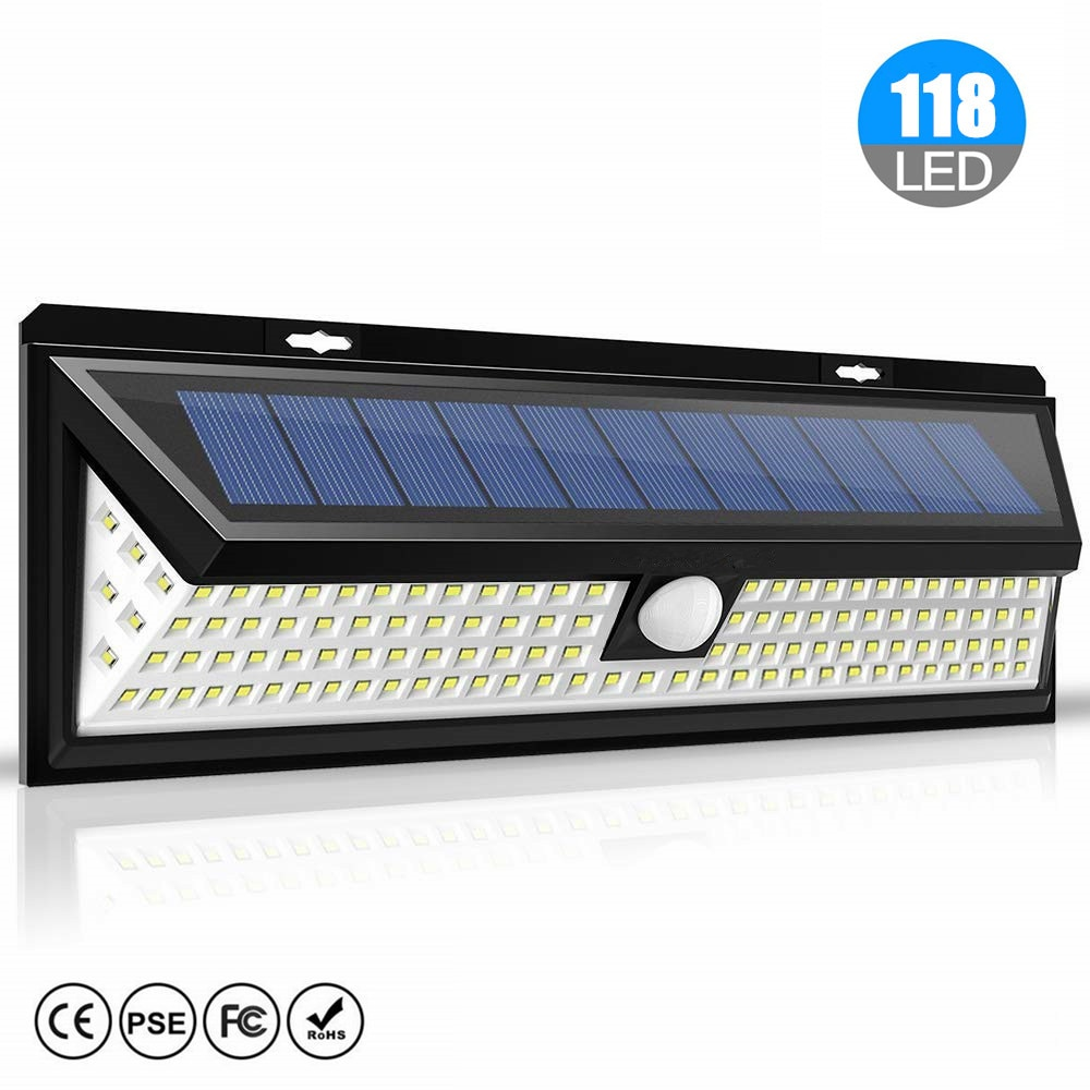 118 LED Solar luz Solar PIR Sensor de movimiento lámpara IP65 impermeable al aire libre jardín patio calle lámpara hogar emergencia seguridad Luz