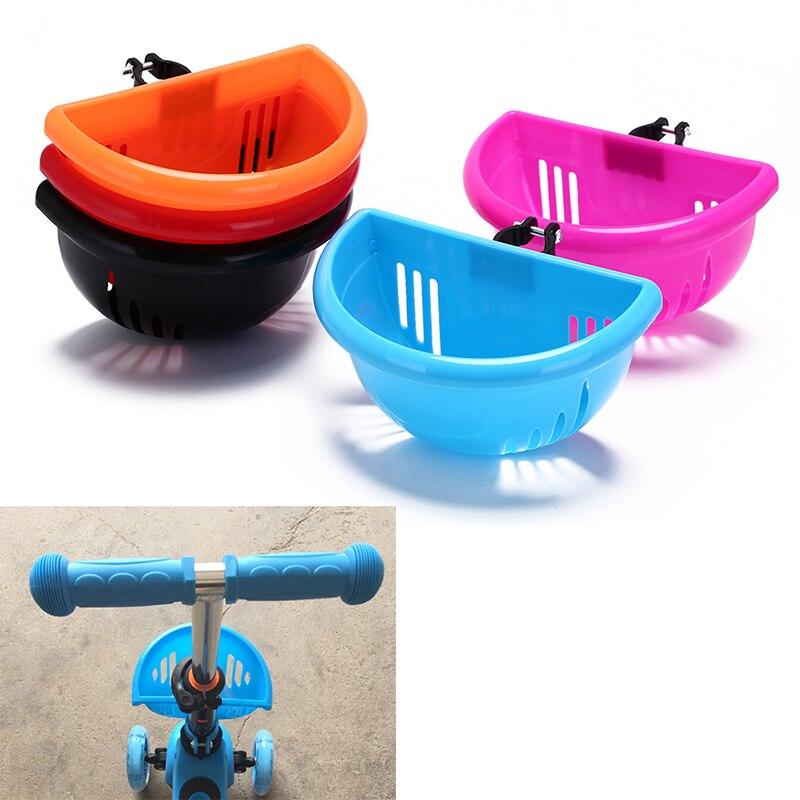 Cesta de bicicleta para niños, bolsa de bicicleta de fácil instalación de plástico, cesta de manillar con mango de Scooter para niños con soporte, accesorios para bicicleta, Top