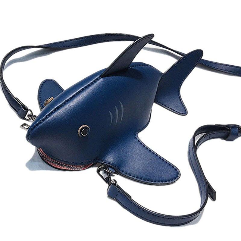 Bolso de hombro de tiburón divertido bolso de mensajero de cadena de dibujos animados para mujeres bolso de hombro de fiesta de bolsa de cuero Teléfono de PU encantador amigo