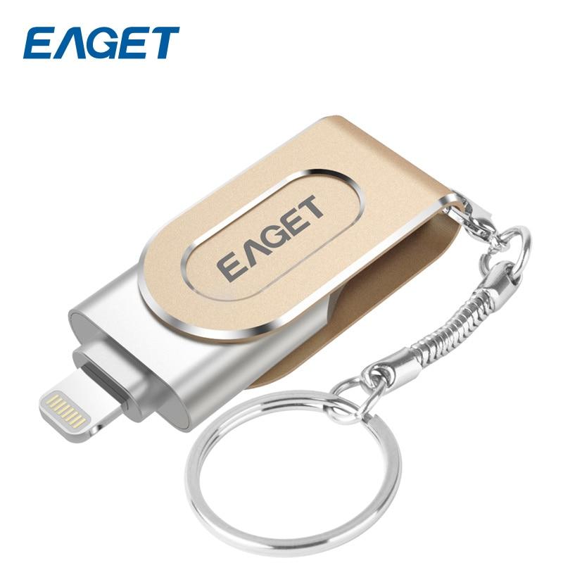 Eaget USB Flash Drive 64 I80 GB/128 GB OTG Pen Drive USB 3.0 IFM Relâmpago USB de Alta Velocidade memória Flash da Vara Para o iphone PC iPad