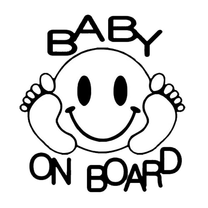 14*15cm Baby On Board Creative Feet And Smiling Face Vinyl Car Styling Decal Car Sticker Rear Window Car Sticker