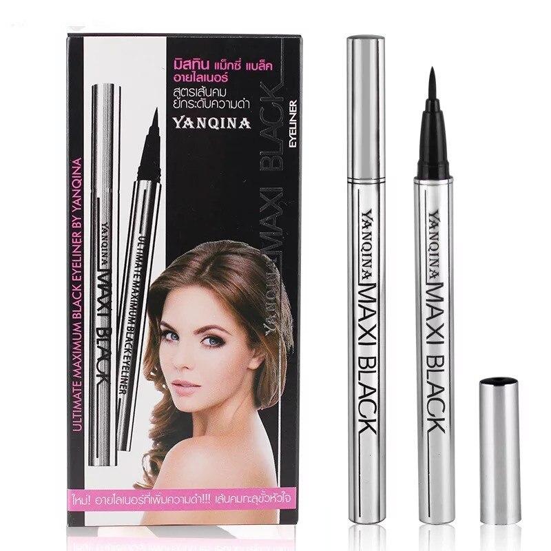 12 Uds YANQINA Cool MAXI lápiz de ojos negro secado rápido en plata/tubo rojo impermeable de larga duración natural negro licor 8634