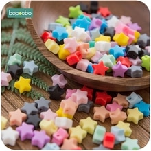 Bopoobo 10pcs Silicone Beads Food Grade Silicone Star Teether Baby Products Silicone Rodent Bracelet