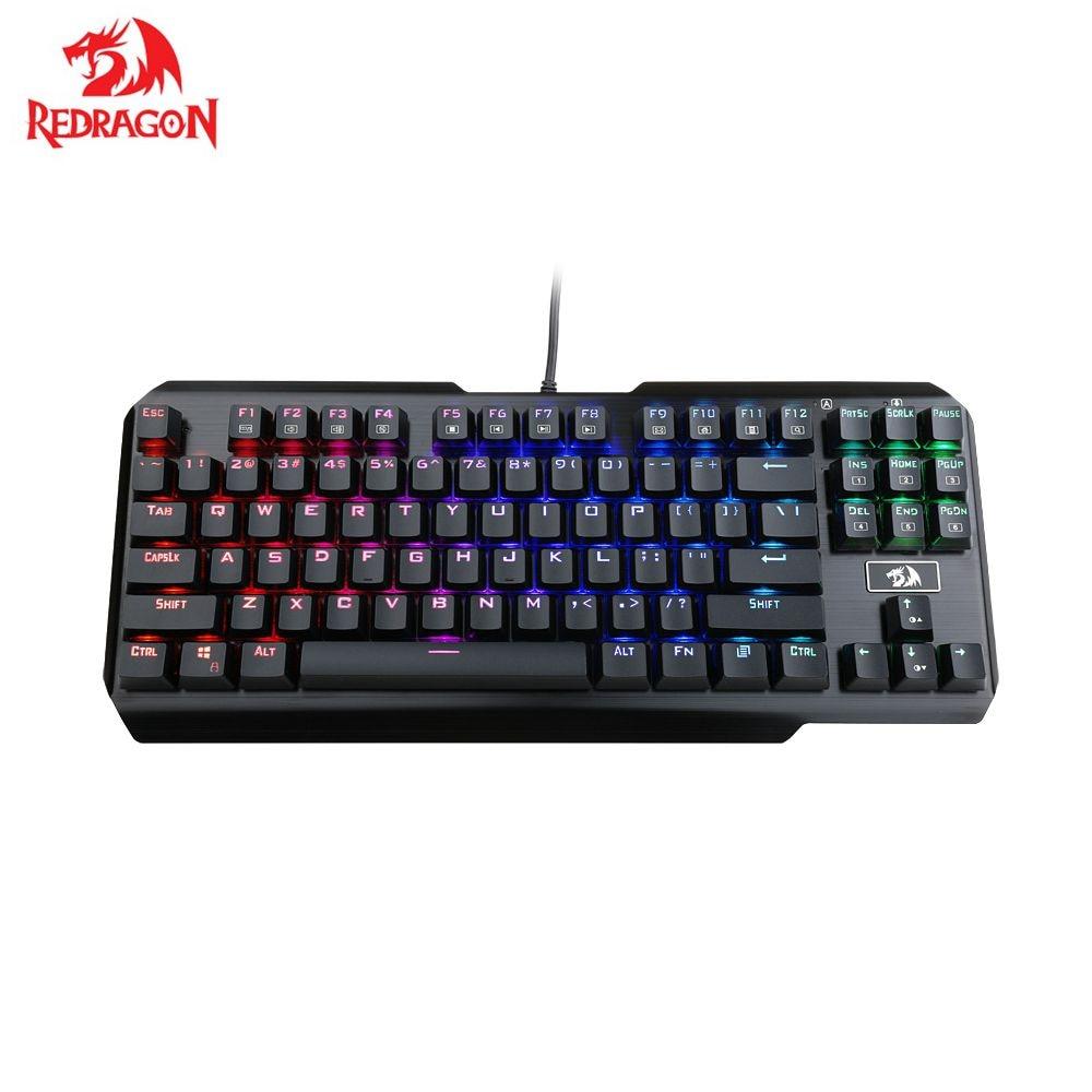 Redragon usa K553 LED RGB retroiluminado 87 teclas Anti-ghosting Teclado mecánico para jugar para jugador