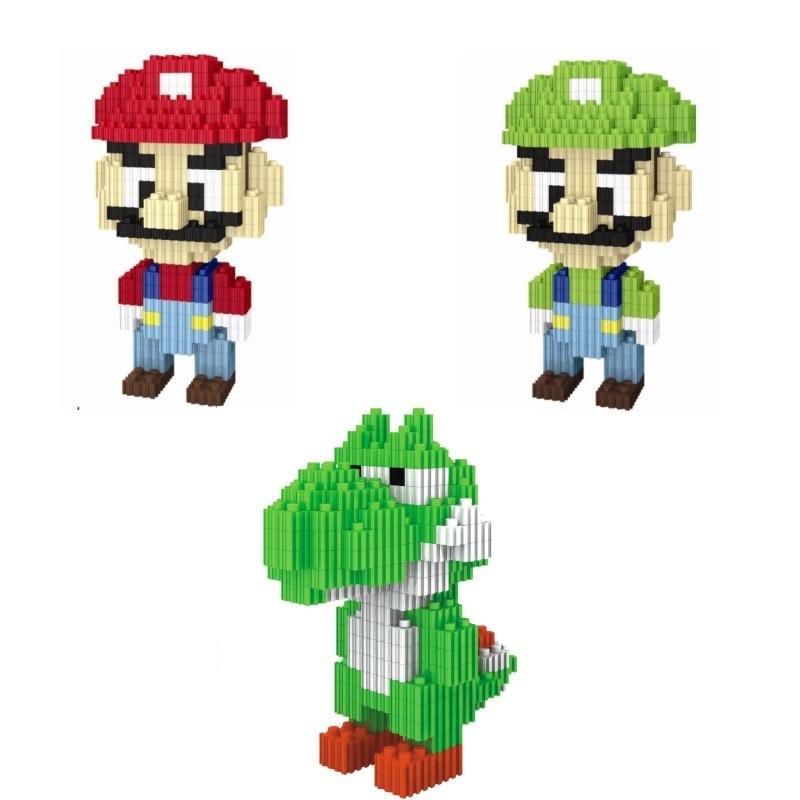 DIY Building blocks Cartoon Mario Model Toy Educational Bricks Yoshi Auction Figures Darth Luigi Children Toys Kids brinquedos