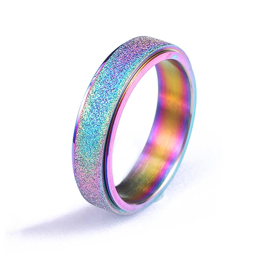 Hot New Design Fashions Womens Stainless Steel Spinner Ring Sand Blast Finish Comfort Size 6-13 Gift rings for women
