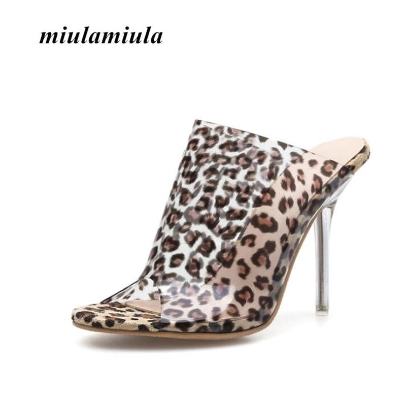 Miulamiula verano Sexy leopardo patrón mujeres sandalias tacones altos PVC Material cristal tacón serie Little Fairy banquete mujer zapato