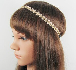 Lace leaves design sparkly gems elastic headband freeshipping fashion headband bridal lace popular fashion hair accessories