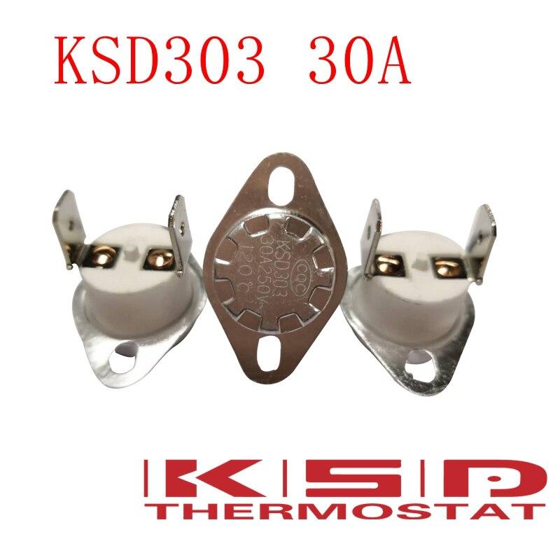 5 pçs/lote KSD301/135C 135 Graus Celsius KSD303 30A250V N.C. Normal Fechado Interruptor de Cerâmica Termostato switch controle de Temperatura