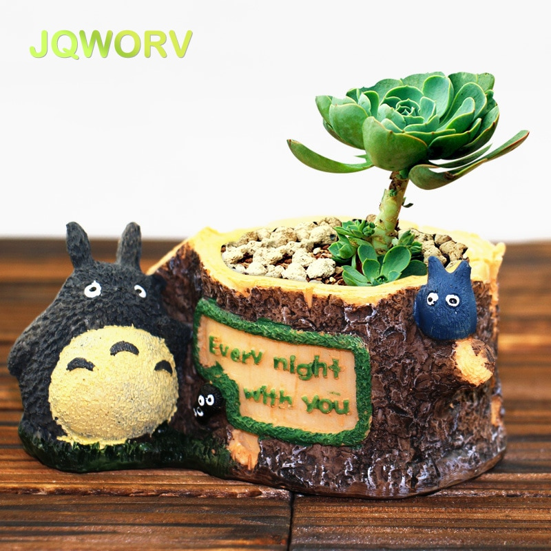 New Modern Cartoon Succulent Planter Pot Resin Creative Crafts Cute Totoro Flower Pot Home office garden Decorations Vase pots