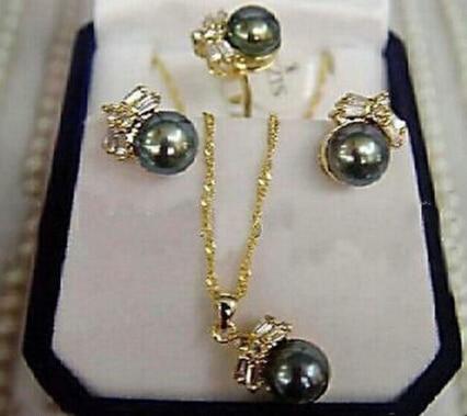 Ювелирные изделия очаровательные 100% натуральные серьги с черным жемчугом кольцо и ожерелье набор-ювелирные изделия невесты Бесплатная доставка