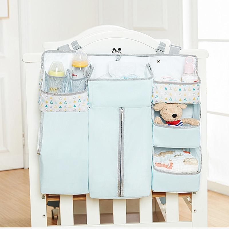 Organizador colgante azul para cuna de bebé, bolsa de almacenamiento lateral para cama de bebé, pañal de juguete para recién nacidos, juego de cama apiladora, accesorios para bebé, Caddy