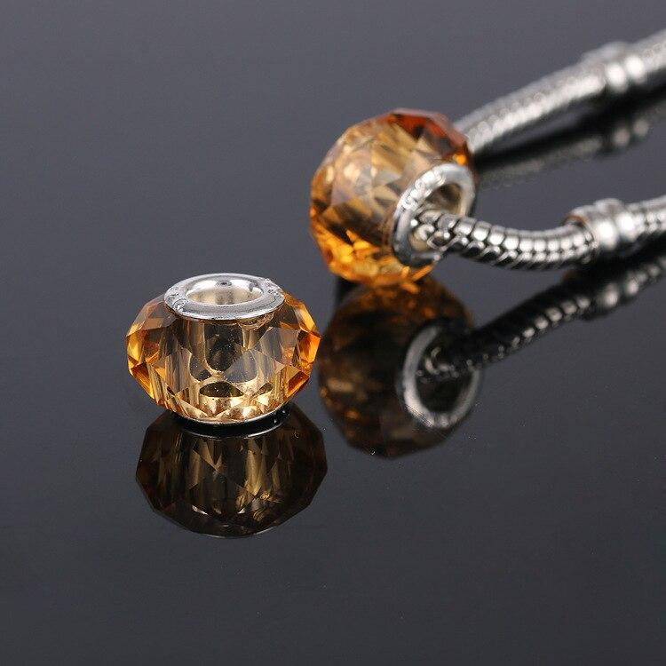 10 unids/lote de cuentas de cristal facetadas amarillas, abalorios de gran agujero de cristal, pulseras y collares de estilo europeo Pandora