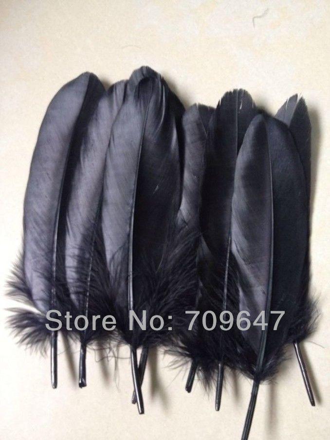 Negro pluma 200 unids/lote 6-8 pulgadas/15-20CM negro Satinettes de plumas de ganso suelta plumas para máscaras de envíos de artesanía proyectos
