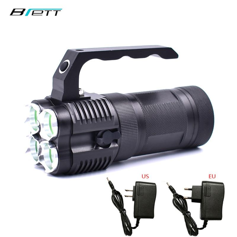 Potente linterna led cree xm-t6 usar batería 4*18650 carga directa al aire libre caza búsqueda y rescate Luz Portátil
