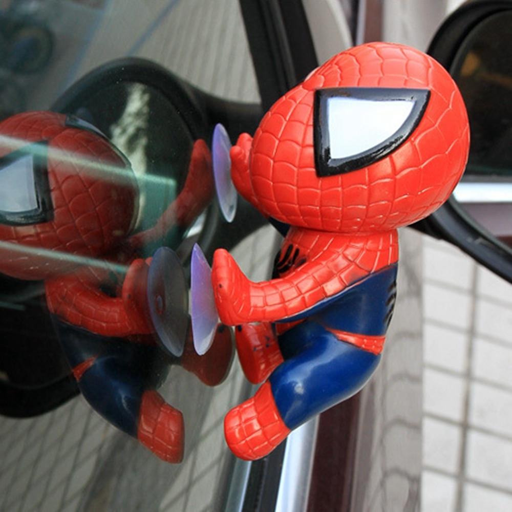 Decoração interior do carro ornamentos dashboard estilo acessórios escalada spiderman janela otário homem aranha brinquedo homem-aranha boneca