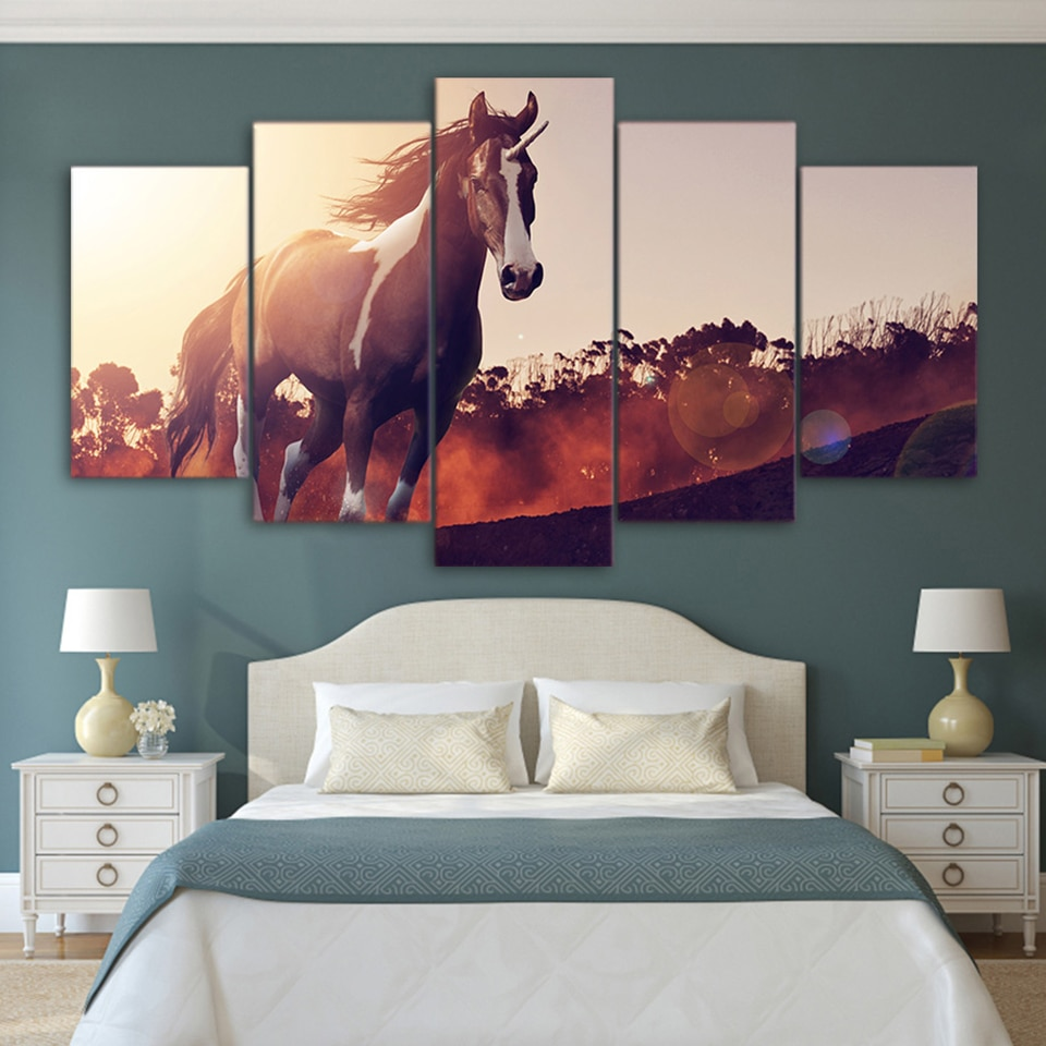 Marco de impresión lienzo arte de pared 5 piezas/piezas corriendo Mustang caballo HD pinturas póster para sala de estar Cuadros cuadro Modular