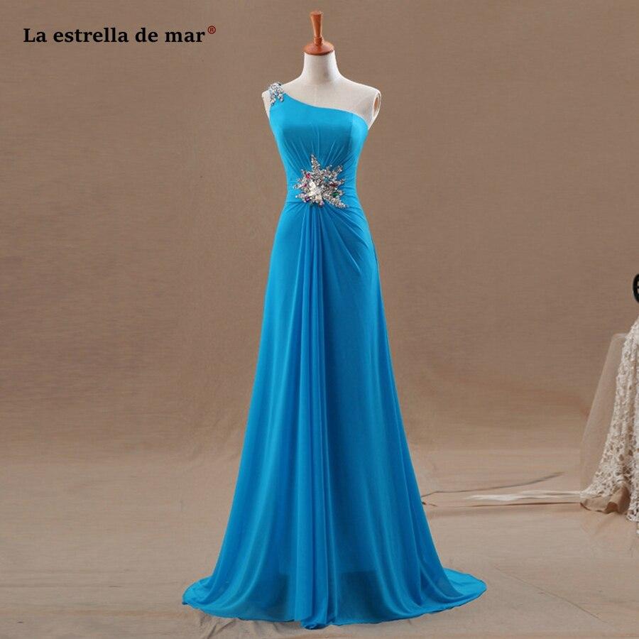 Vestido de casamento longo novo chiffon um ombro cristal a linha azul turquesa vestidos de dama de honra bonito