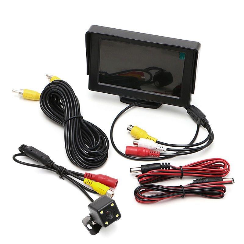 """New Car Rear View Kit Digital 4.3"""" Car TFT LCD Monitor DC 12V Cars Rear View Monitor+Night Vision Backup Revers Camera"""