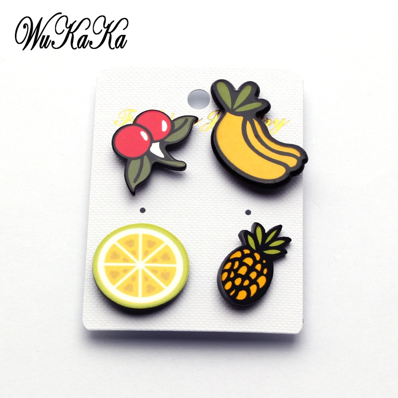 4 Uds conjunto de broche acrílico de dibujos animados insignias de Metal Pin Banana estrella piña arcoíris naranja arcoíris para ropa mochila vaquera Harajuku