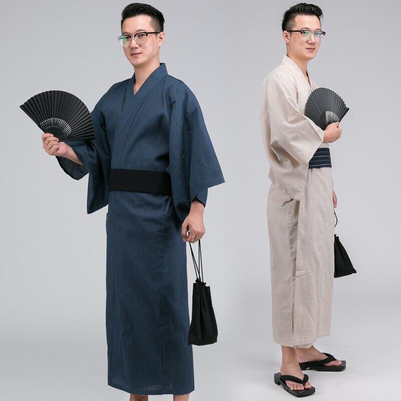 Male Traditional Japan Kimono Bathrobes Mens Cotton Robe Yukata Men Bath Robe Summer Sleepwear with Belt and fan A52601