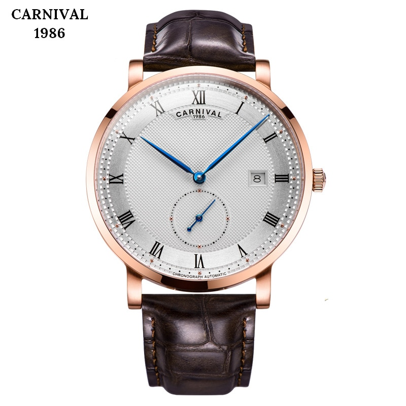 Carnival Brand Independent small pointer Leather Watches Luxury Men Automatic Mechanical Waterproof Watch Sports Military Clock